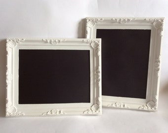 1x shabby chic white framed chalkboard blackboard vintage french antique wedding ornate
