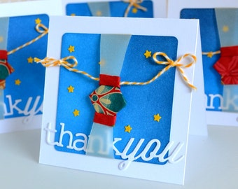 Handmade Origami Lantern Thank You MINI Cards Set