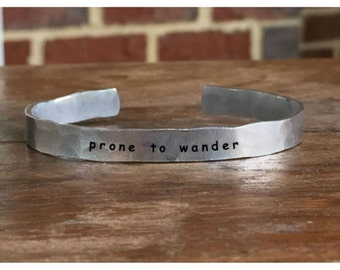 "Prone to wonder - Outside Message Hand Stamped Cuff Stacking Bracelet Personalized 1/4"" Adjustable Handmade"