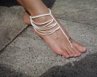 Crochet Pattern - Boho Barefoot Sandals/ Crochet Beads Beach Wedding Sandals/ Crochet Boho Anklet