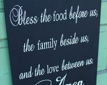 Bless the Food Before Us, Hand Painted Prayer Sign for Dining Room or Kitchen
