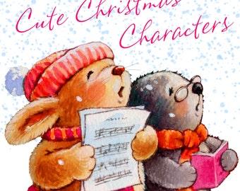 Cute Christmas Characters Watercolour Clip Art