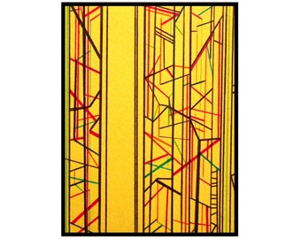 Original abstract ACEO yellow black pen and ink geometric art card ine drawing ATC Clarity by Caerys Walsh