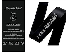 300 QTY + 20 EXTRAS Custom Satin Labels, Folded or Hanging Clothing Tags, Black Ribbon, White Printed, Thermally Printed Labels, Washable
