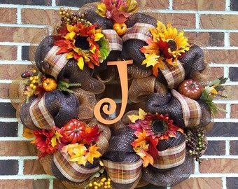 Large Deco Mesh Fall Flowers Initial Wreath