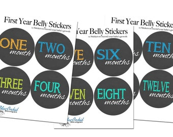 Monthly Baby Belly Stickers, Chalkboard Effect, Neon Lights