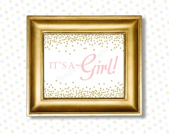Its a girl sign 8x10 (INSTANT DOWNLOAD) - Gender reveal sign - Gender reveal printable - Pink and gold baby shower BA002G
