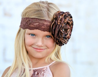 Shades of Brown Singed Flower Headband