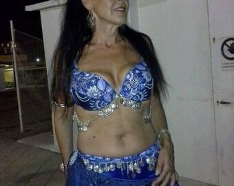 Blu, custom made, bellydance costume