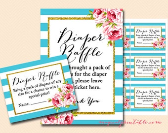 Diaper raffle tickets, diaper raffle printable, diaper raffle cards and sign, Turquoise Stripes, Chic baby shower games Printables TLC84