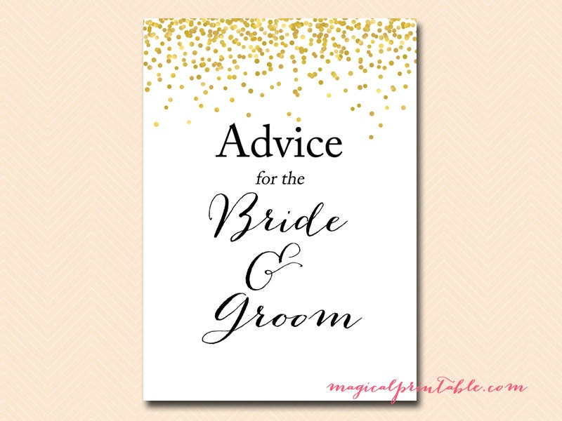Advice For The Bride & Groom Advice Cards For Bridal Shower
