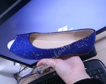 Blue Crystal Shoes Open Toe Ballet Flat Shoes Royal Blue Rhinestone Custom Woman Shoes Flower Girl Shoes Youth Girl Shoes Peep Toe Flats