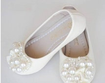 Ivory Flower Girl Shoes/ Toddler Girl Shoes/Pearl Party Shoes/Bow Girls Shoes mary jane shoes-Genuine Leather Shoes For Girls