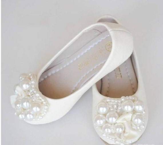 Ivory Flower Girl Shoes Toddler Girl Shoes Pearl Party