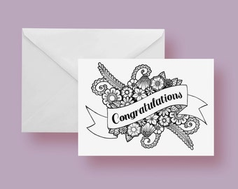 Printable Congratulations Color-It-Yourself Greeting Card 5x7 inches Blank Inside