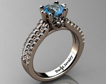 Classic 14K Rose Gold 1.0 Ct Blue Topaz Diamond Solitaire Engagement Ring R1027-14KRGDBT