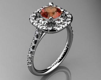 French 14K White Gold 1.0 Ct Orange Sapphire Diamond Engagement Ring R1028-14KWGDOS
