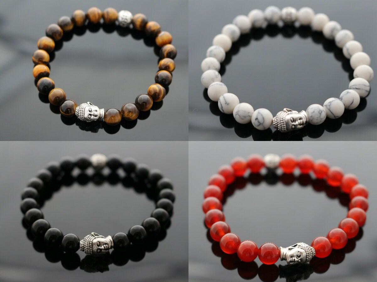 buddha mens bracelet beaded bracelet unisex by pearsapples