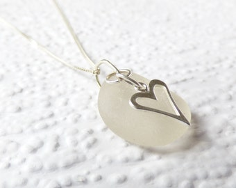 Frosted white Seaham seaglass, Swarovski crystal and sterling silver heart necklace- genuine English sea glass, beach wedding jewelry