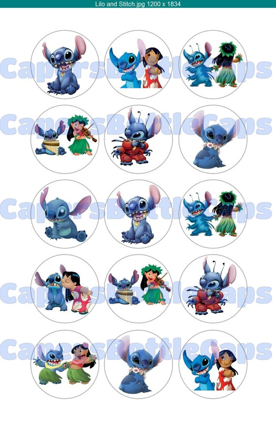 Lilo And Stitch One Inch Bottle Cap Images Digital Download