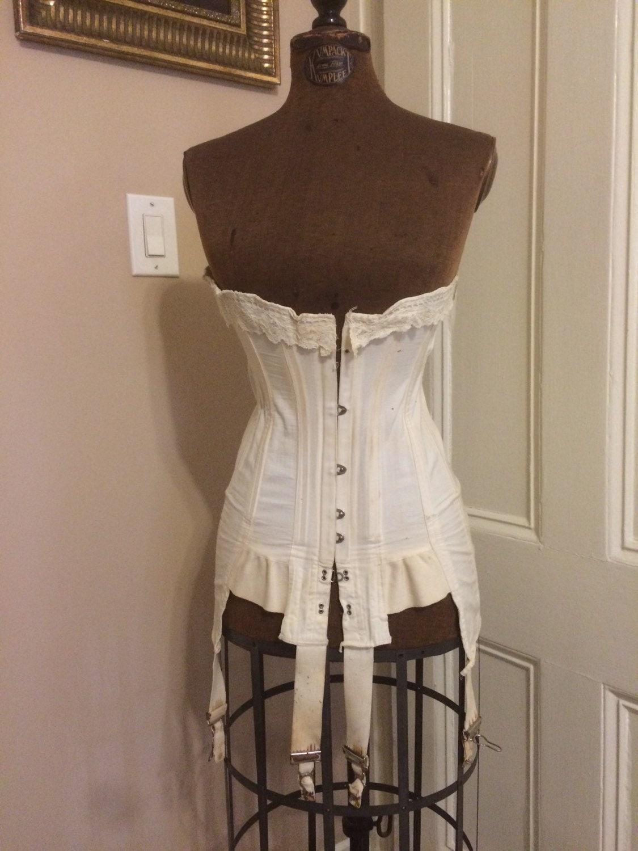 ON SALE Antique edwardian corset vintage true vintage