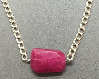 Raspberry Quartz and Sterling Necklace
