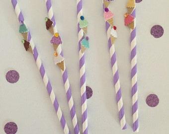 """Purple & White Striped """"I Scream, U Scream"""" Ice Scream Paper Straws"""