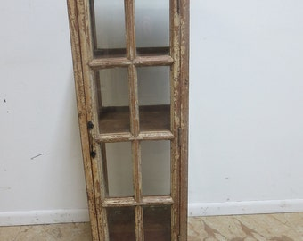 Antique Primitive architectural salvage Window Curio Crystal cabinet hutch C