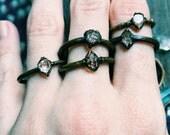 Herkimer Diamond Ring - April Birthstone - Raw Quartz Crystal Stacking Ring | Electroformed Dainty Clear See Through Quartz Crystal Ring