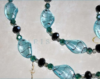 Teal Beaded Necklace, Teal And Black Beads, Lampwork Necklace, Double Strand Beads, Extra Long Necklace, Teal Twisted Beads