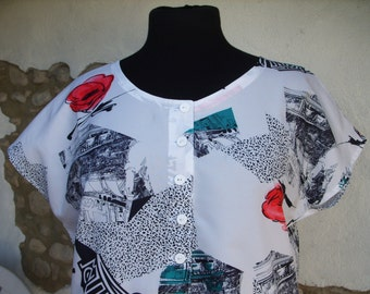 Vintage Ladies Blouse size 44.   Abstract Graphic Design from 1980s with Cap Sleeves