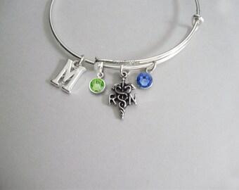 REGISTERED NURSE Adjustable Bangle W/ Birthstone Crystal / INITIAL Drop / Bangle Bracelet / Jewelry /  Gift For Her- Usa N1