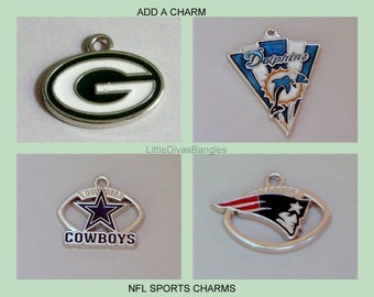 NFL Football   CHARMS - Add A Charm  To Your Bangle - Jets / Green Bay / NE Patriots/ Personalize Your Bangle   / Usa  CH1
