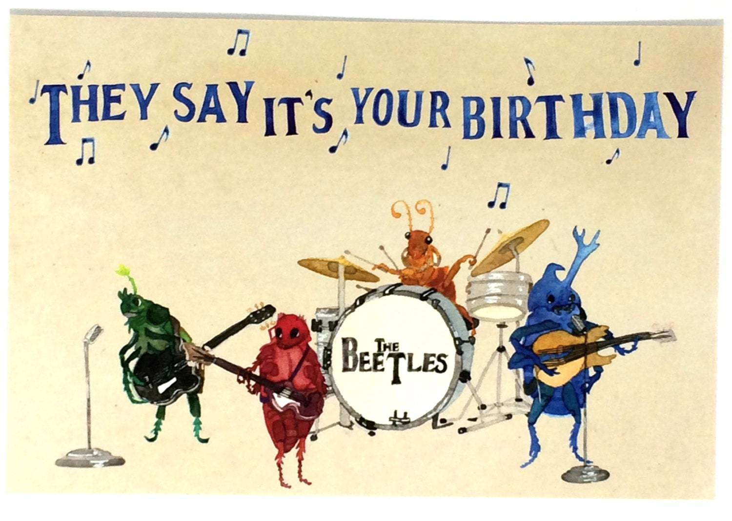 Beatles Happy Birthday Postcards Beetles Bday Musical Oldies – Birthday Greeting with Music