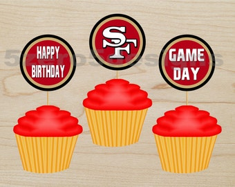 san francisco 49er cup cake toppers, 49ers cup cake topper, nfl cupcake toppers, 49er cupcake toppers, san francisco 49er cupcake topper