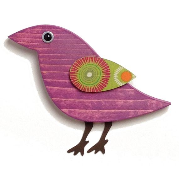 Modern Folk Art Wood Bird Wall Art