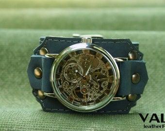 Women watches, mens watches, ladies watch, leather watch, blue leather watch, steampunk watch, womens watch, watch women, watch strap, blue