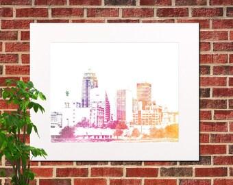 Des Moines Skyline Print Abstract City Art Des Moines Poster Downtown Des Moines Iowa Poster 5318
