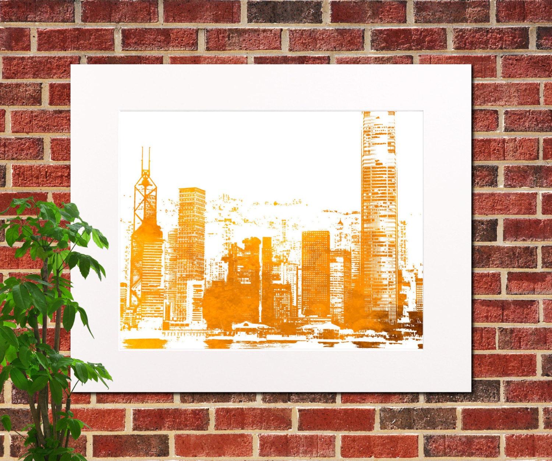 Hong Kong Art: Hong Kong Skyline Print Abstract City Art Print Hong Kong Home