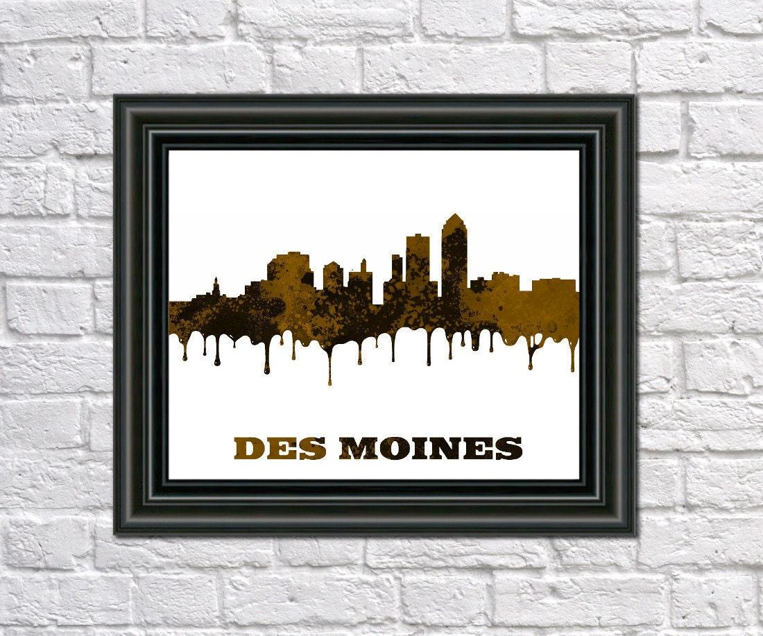 Des Moines Skyline Print Des Moines City Outline Iowa Art Des