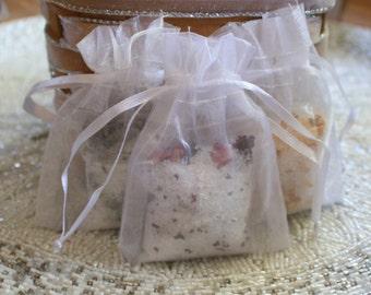 Bath Salt Gift Set - 5 Bath Salt Sachet Bags for Wedding Favors - Tea Pary Favors - Bridal Shower or Baby Shower Favors