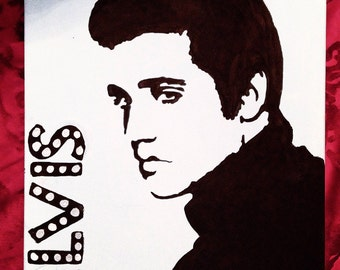Hand Painted Elvis Silhouette Canvas