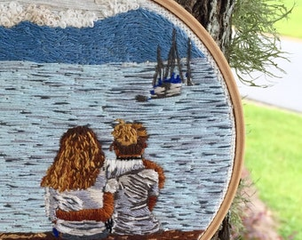 "Hand Embroidered Photograph | Family & Sibling Portrait | 6"" Embroidery Hoop"