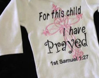 Baby Girl's Pink Black For This Child I Have Prayed Christian Cross Onesie Religious
