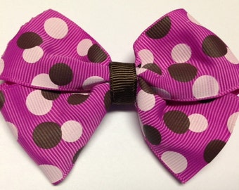"""3.5"""" Berry brown pink polka dot hair bow Halloween birthday party favor baby toddler hairbow clip stocking stuffer Christmas gift teen"""