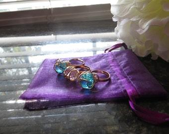 E.L.L.E Wire Wrapped Crystal Three Ring Set