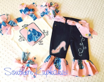 DISNEY CINDERELLA New NWT 5pc. Outfit Set Custom Girls All Sizes 12mo - 14yrs Boutique Pageant Princesses Vacation Casual Wear Theme