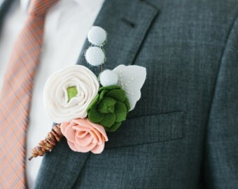 made to order wool felt flower + succulent boutonniere // groom // groomsmen // best man
