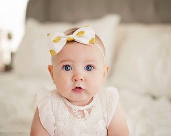 Gold Polka Dot Bows (White)