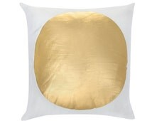JAMIESON Gold Foil White Geometric Large Spot Dot Circle Cushion Cover 45cm x 45cm